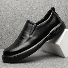 Fashion Men Shoes Black Leather Breathable Causal S