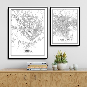 Ethiopia Creative city map Addis Ababa Abstract Canvas Paintings Black and white Wall Art Print Poster Picture Home Decoration image