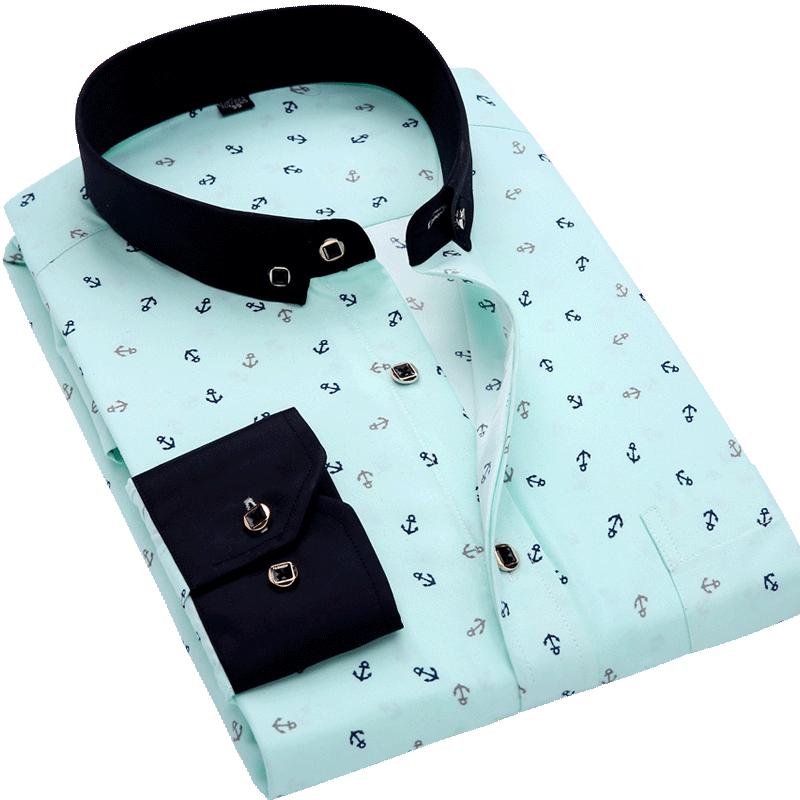 H25cc221ea54b42c9bcb4e0d7fce0f11c1 Men Shirt Long Sleeve Floral Printing Plaid Fashion Pocket Casual Shirts 100% Polyester Soft Comfortable Men Dress Shirt DS375