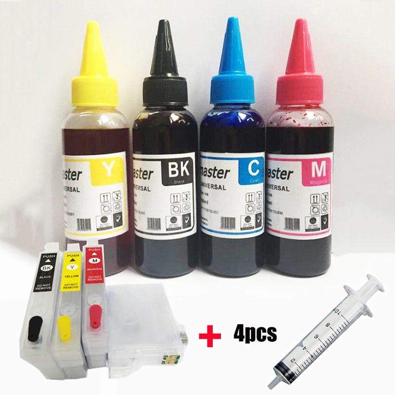vilaxh T603XL 603XL Refillable Ink Cartridge + Dye Ink For <font><b>Epson</b></font> T603 XL <font><b>XP</b></font>-<font><b>2100</b></font> <font><b>XP</b></font>-2105 <font><b>XP</b></font>-3100 <font><b>XP</b></font>-3105 <font><b>XP</b></font>-4100 <font><b>XP</b></font>-4105 WF-2810 image