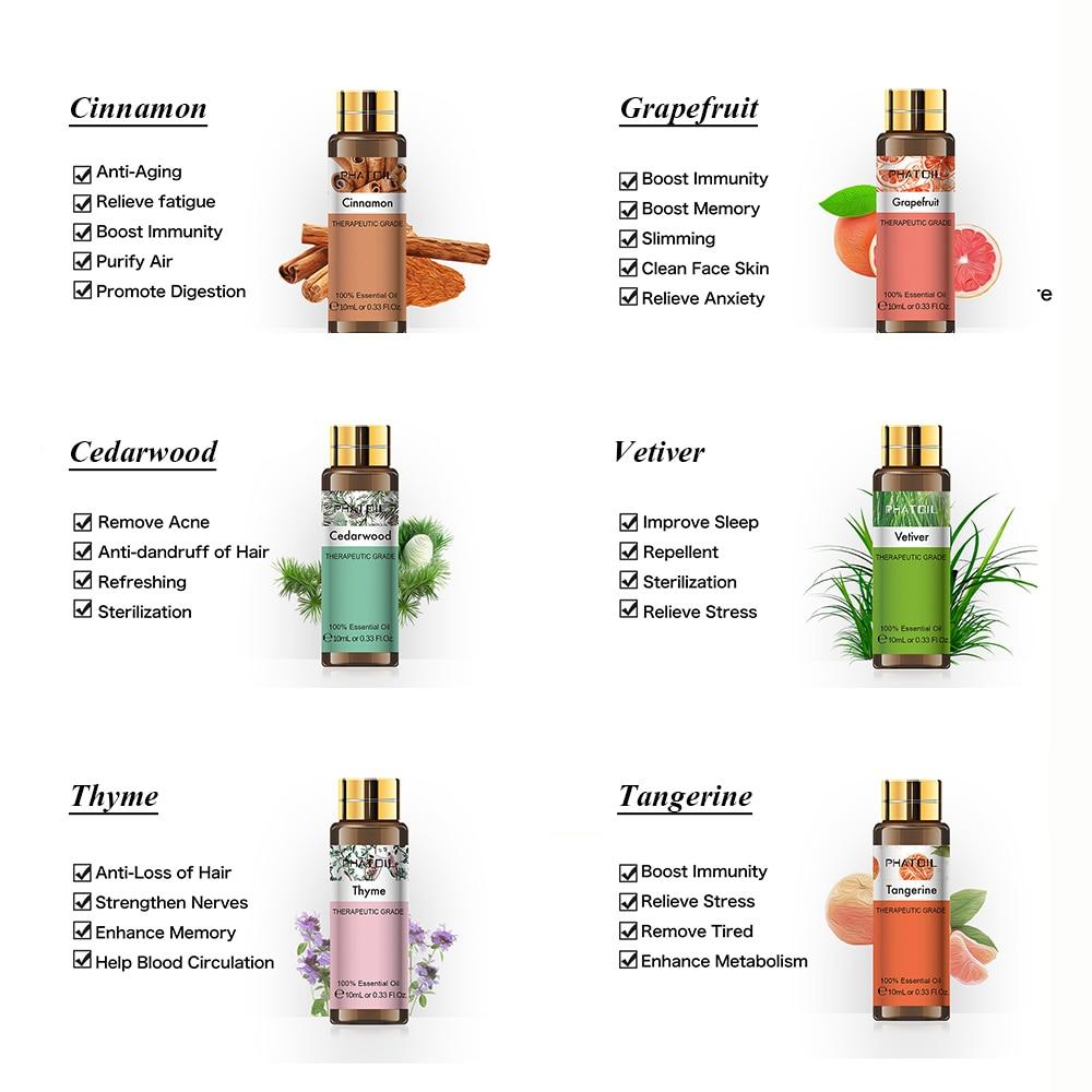 10ML Rosemary Geranium Pure Natural Essential Oil Diffuser Eucalyptus Bergamot Frankincense Sweet Orange Cloves Grapefruit Oil-2