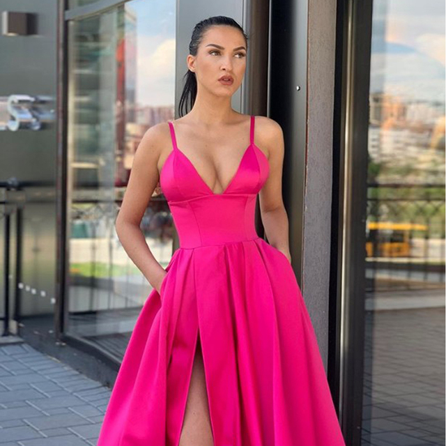 2019 New Arrival Deep V Neck Long Prom Dresses Satin Gold Vestidos De Festa Sexy Evening Party Dress High Slit With Pocket 1