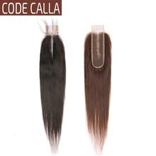 Code Calla Rechte 2*6 inch Kant maat KIM K Sluiting Maleisische Remy Human Hair Weave Extensions Natuurlijke Zwarte donkerbruin Kleur