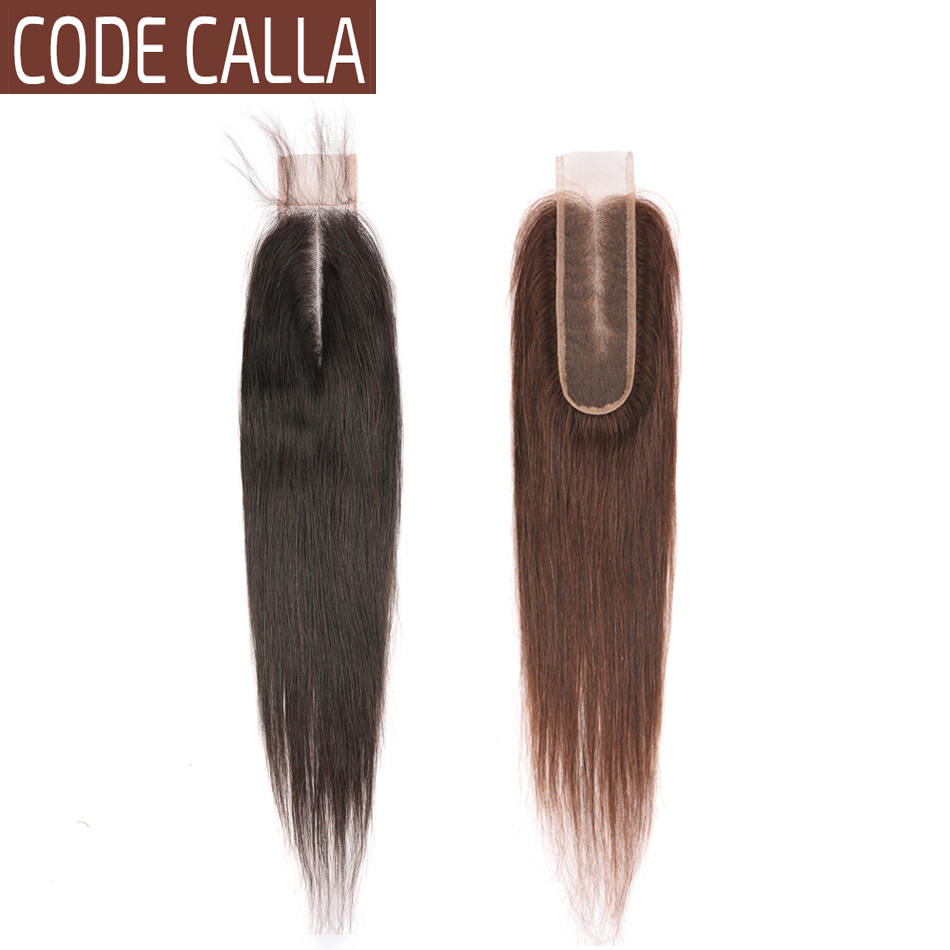Code Calla Straight KIM K Lace Closure Malaysian Remy Human Hair Extensions Size 2*6 Inch Closure Natural Black Dark Brown Color