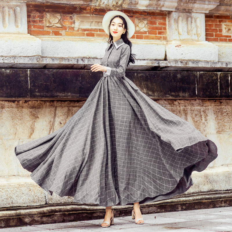 Plaid Dress Long 2019 Spring Clothing New Style Waist Hugging Slimming Spring And Autumn Base Skirt Korean-style Over-the-Knee L