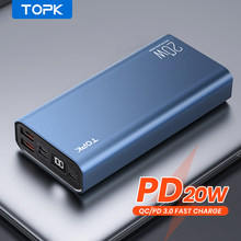 TOPK PD 20W Power Bank 20000mAh Portable Charging Poverbank Mobile Phone External Battery Charger Powerbank 20000 mAh for Xiaomi