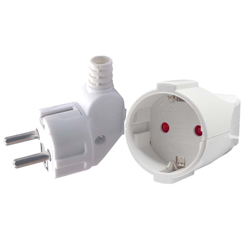 White 250v 16a Male Female Assembly Receptacle connector french Russia Korea German EU Schuko power cord wired cable plug Socket(China)