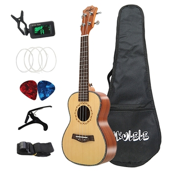 Acoustic Tenor Ukulele Set 26 Inch Spruce Wood Ukelele 4 Strings Hawaiian Guitar Music Instrument