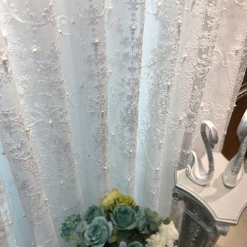 White lace pearl window screen elegant romantic style living room curtain embroidery wedding sheer tulle curtains  X-ZH040T2 princess style 100% cotton curtains elegant white lace curtains sheer tulles for girl s room window door sheet screen home decor