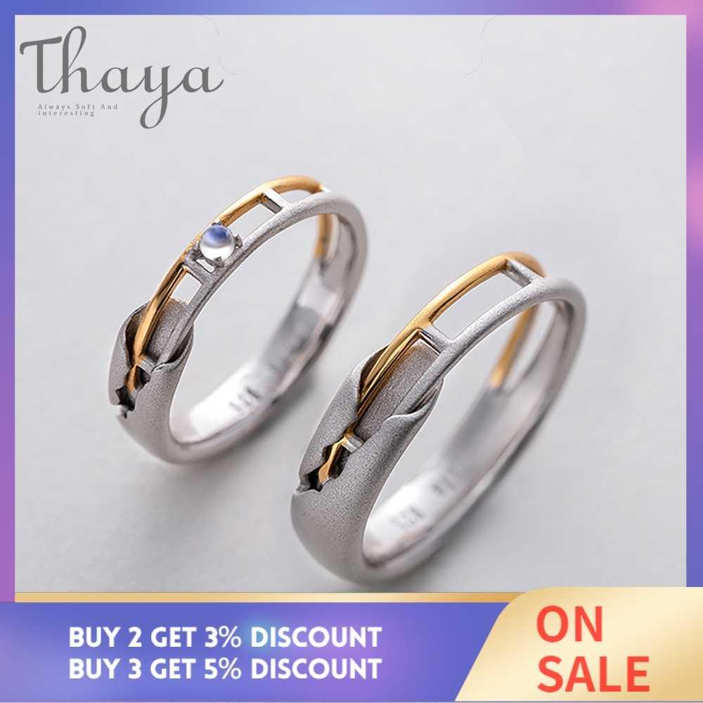 Thaya รถไฟ Rail Design Moonstone Lover แหวนทองและ Hollow 925 เงินกะหล่ำปลีเครื่องประดับสำหรับผู้หญิงอัญมณีหวานของขวัญ