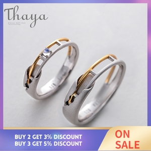 Image 2 - Thaya Train Rail Design Moonstone Lover Rings Gold and Hollow 925 Silver Eleglant Jewelry for Women Gemstone Sweet Gift