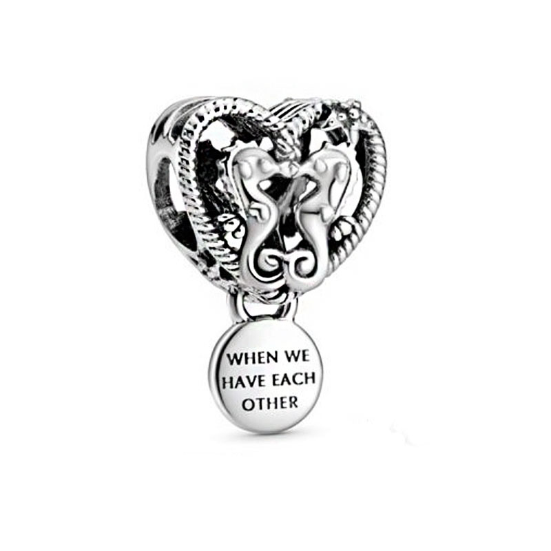 2020 New Summer 925 Sterling Silver Openwork Seahorses Heart Charms Beads Fit Original Pandora Bracelets Women DIY Jewelry