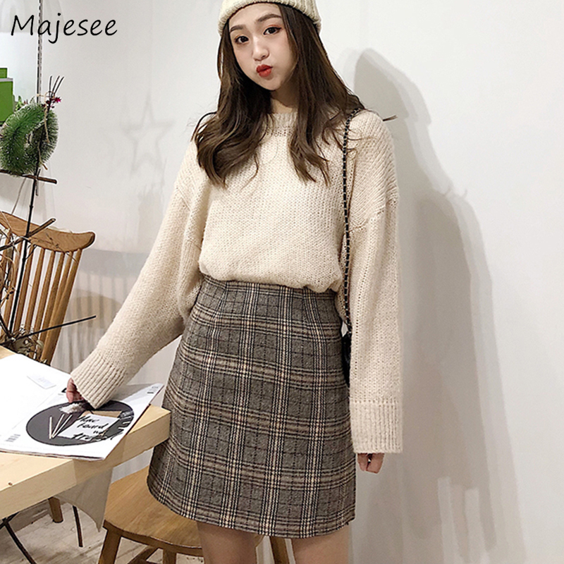 Skirts Women Plaid Simple Vintage Zipper Womens Harajuku Mini Skirt All-match Causal Daily Student Korean Style Elegant Slim New