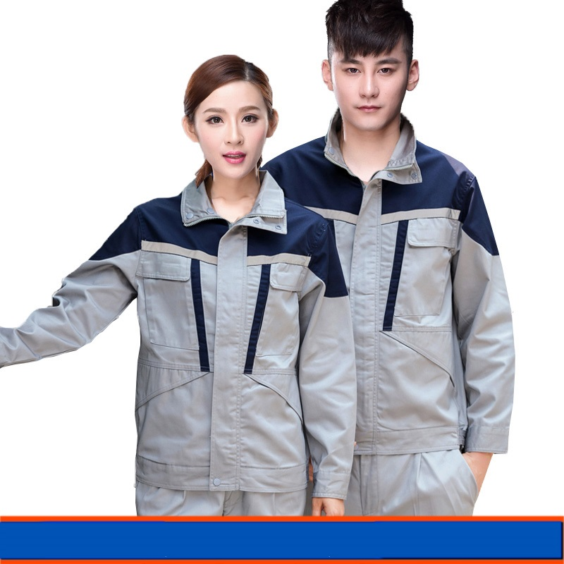 Spring Worker Clothes Set Male/female Workmen Factory Workshop Uniforms Long-sleeve Coveralls Free Ship Porter Thin Jacket+pants