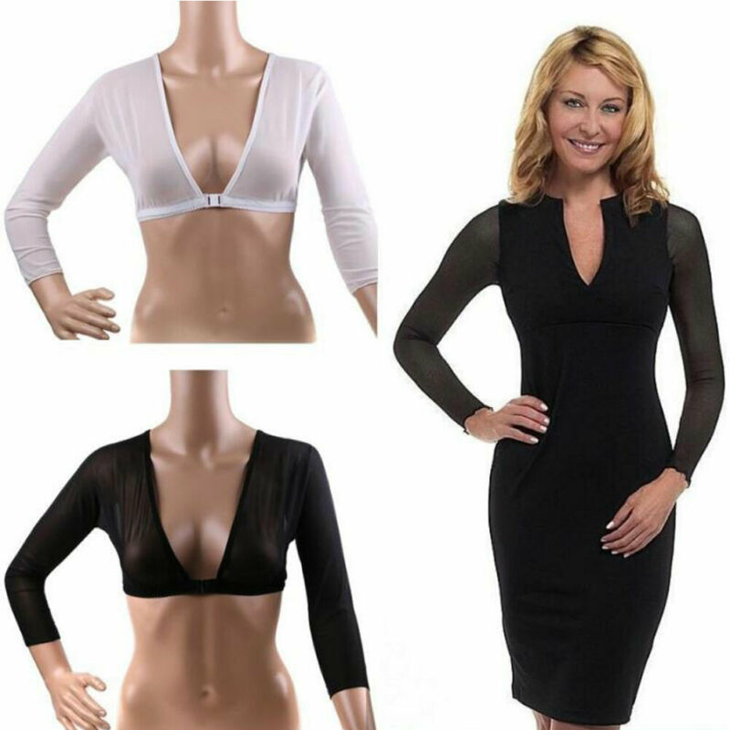 Ladies Plus Size Seamless Arm Shaper Sleeves Wonders Women's Wrap Solid Color Front Buckle Push Up V Neck Long Sleeve Slim Shape