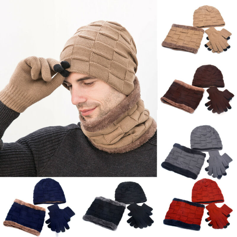 Men's Womens Winter Warm 3 Piece Set Knitted Beanie Hat Scarf Touchscreen Gloves