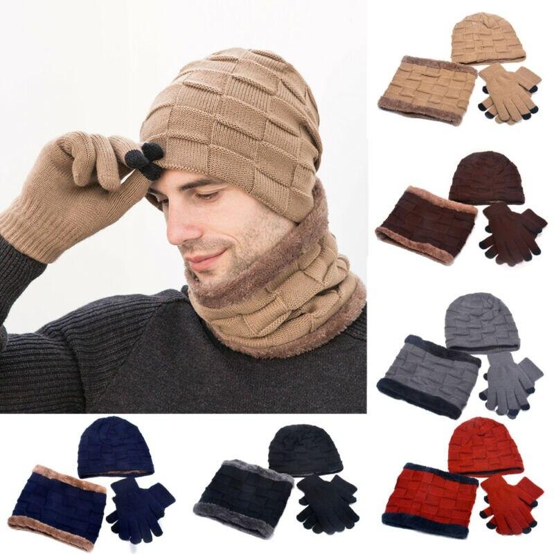 Men's Womens Winter Warm 3 Piece Set Knitted Beanie Hat Scarf Touchscreen Gloves
