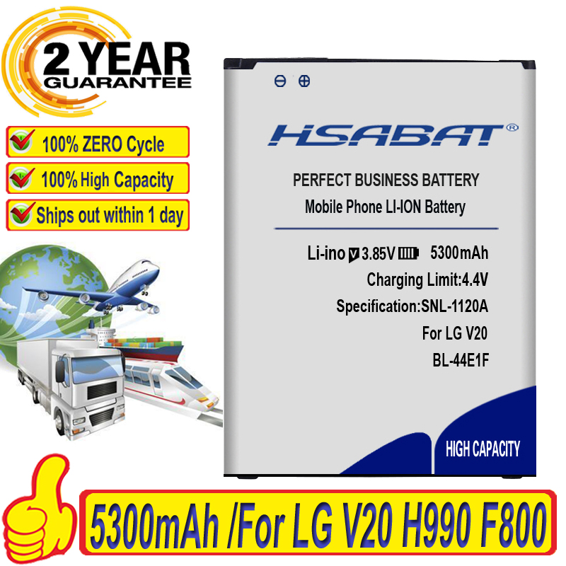 HSABAT 5300mAh BL-44E1F Замена для LG V20 батарея H990 F800 батареи H990 F800 VS995 US996 LS997 H990DS H910 H918 Stylus3