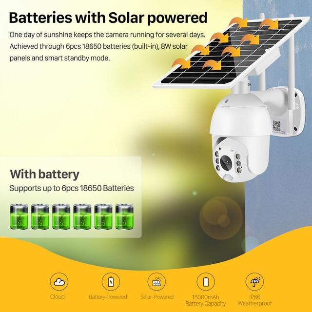 2MP IP Camera Solar Panel PIR Detection 1080P IR Vision With Battery For Long Standby 2