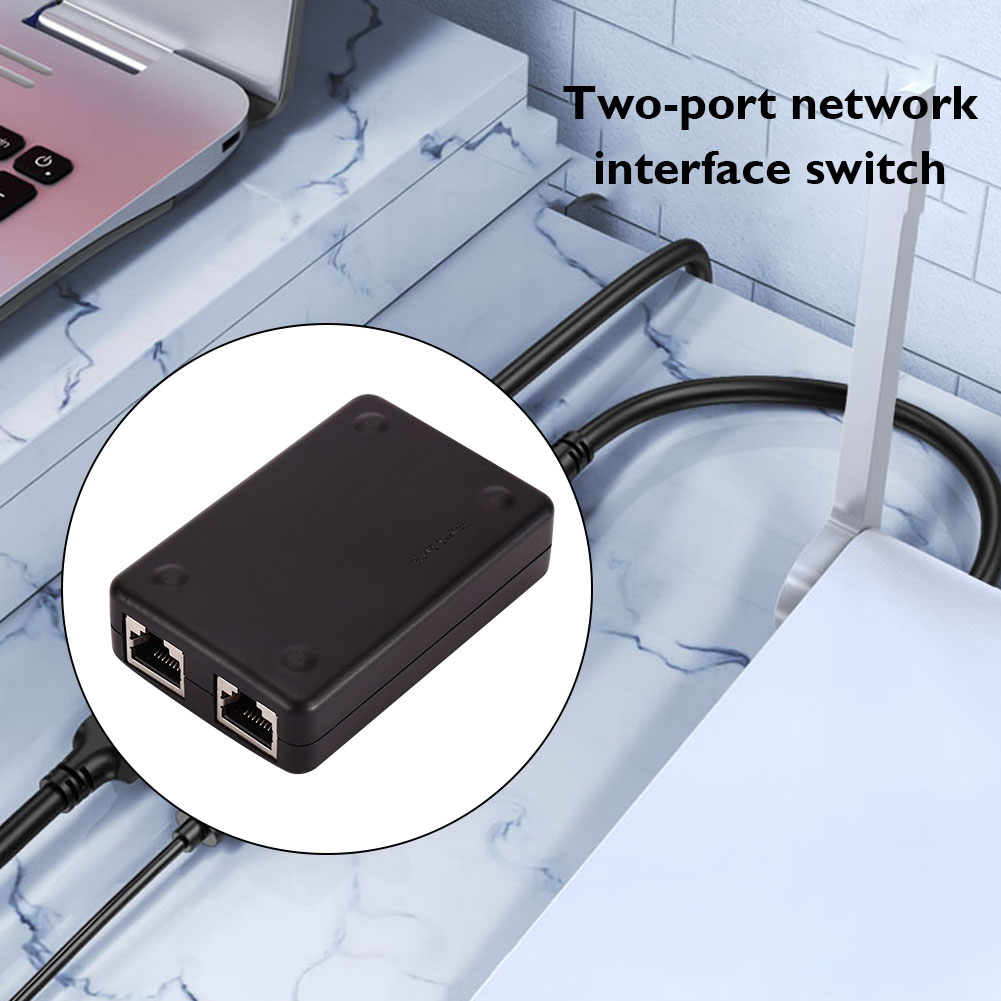 2 Port RJ45 Network Switch Managed Box Ethernet Switch Dual 2 Way Port HUB Ethernet Sharing Adapter Switcher for Computer PC