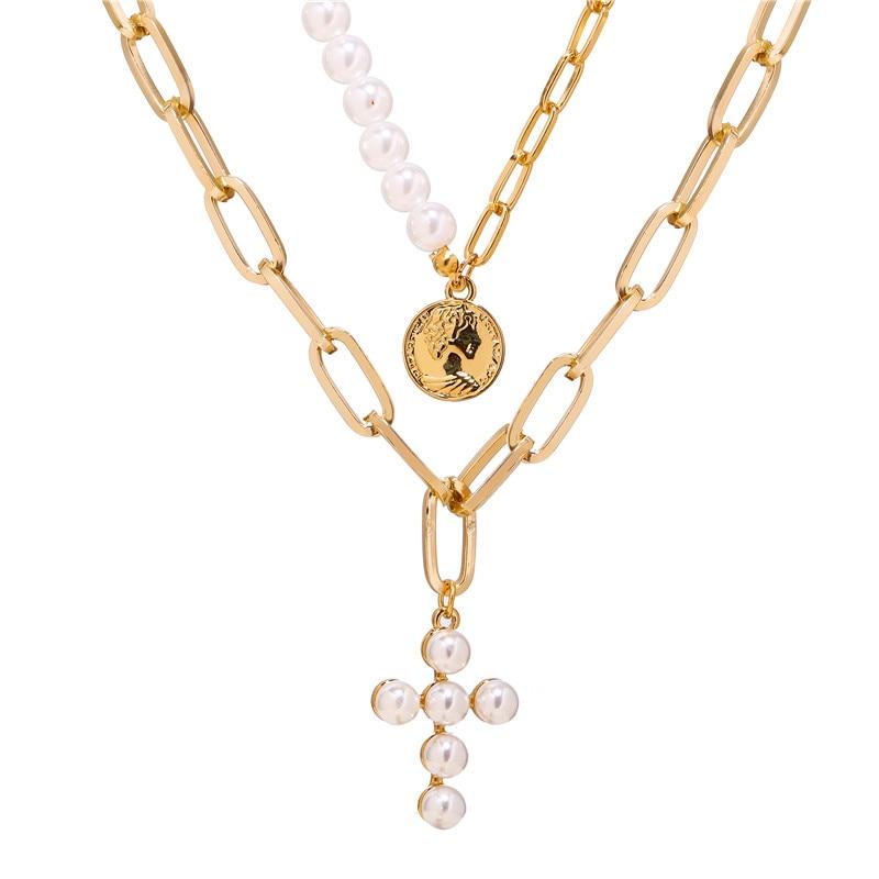 17 км винтажная Золотая монета с портретом, жемчужное ожерелье с подвеской s для женщин, богемное Модное Длинное Ожерелье из муклтилятора с жемчугом, ювелирное изделие - Окраска металла: CS5038