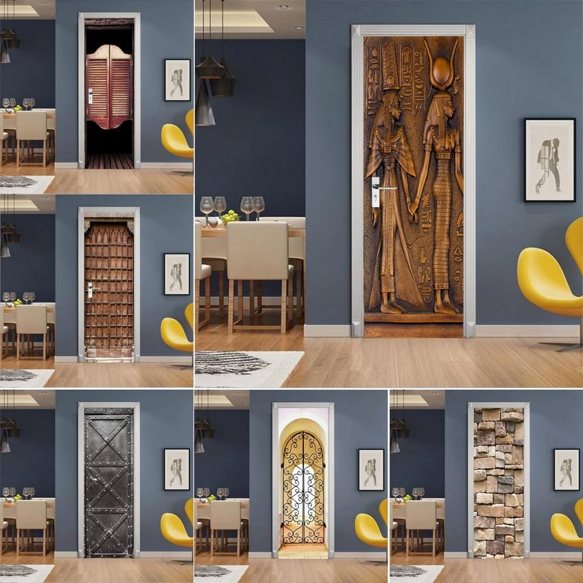 3D настенная бумага для дверей, самоклеящаяся ретро наклейка, деревянная доска, печать, ПВХ, настенная бумага, постер, Декор для дома, наклейка на дверь, наклейка|Дверные наклейки|   | АлиЭкспресс