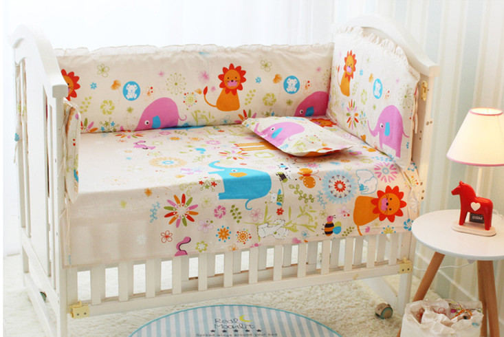 6PCS Hot Selling Baby Cot Crib Bedding Set Bumpers Sheet Cribs For BabiesBaby Room Decoration (4bumpers+sheet+pillow Cover)
