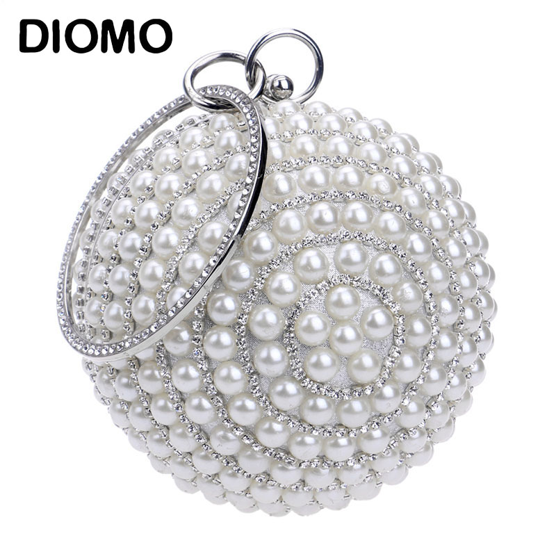 DIOMO New Arrival Women's Full Pearl Tassel Evening Bags Ladies Luxury Chain Clutch Purse Wedding Party Spherical Banquet Bag
