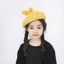 2021New Autumn Winter Hat Kids Rabbit Shape Warm Pearl Beret Hat Girls Painter Hat Wholesale Beret kids