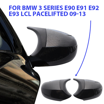 high quality Carbon Fiber Pattern styling bright black trim M3 style Rearview Mirror cover for BMW E90 E91 E92 E93 LCI image