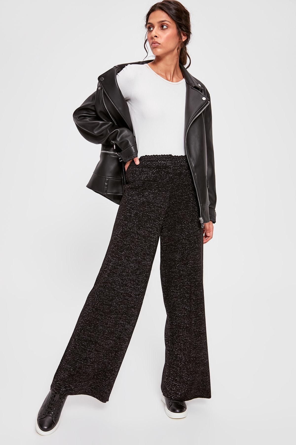 Trendyol Black Silvery Sweater Pants TWOAW20PL0142