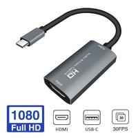 Placa de captura de vídeo hd 1080p 4k tipo c para hdmi-compatível com hdmi para captura de vídeo, jogos de tabuleiro, grava transmissão ao vivo