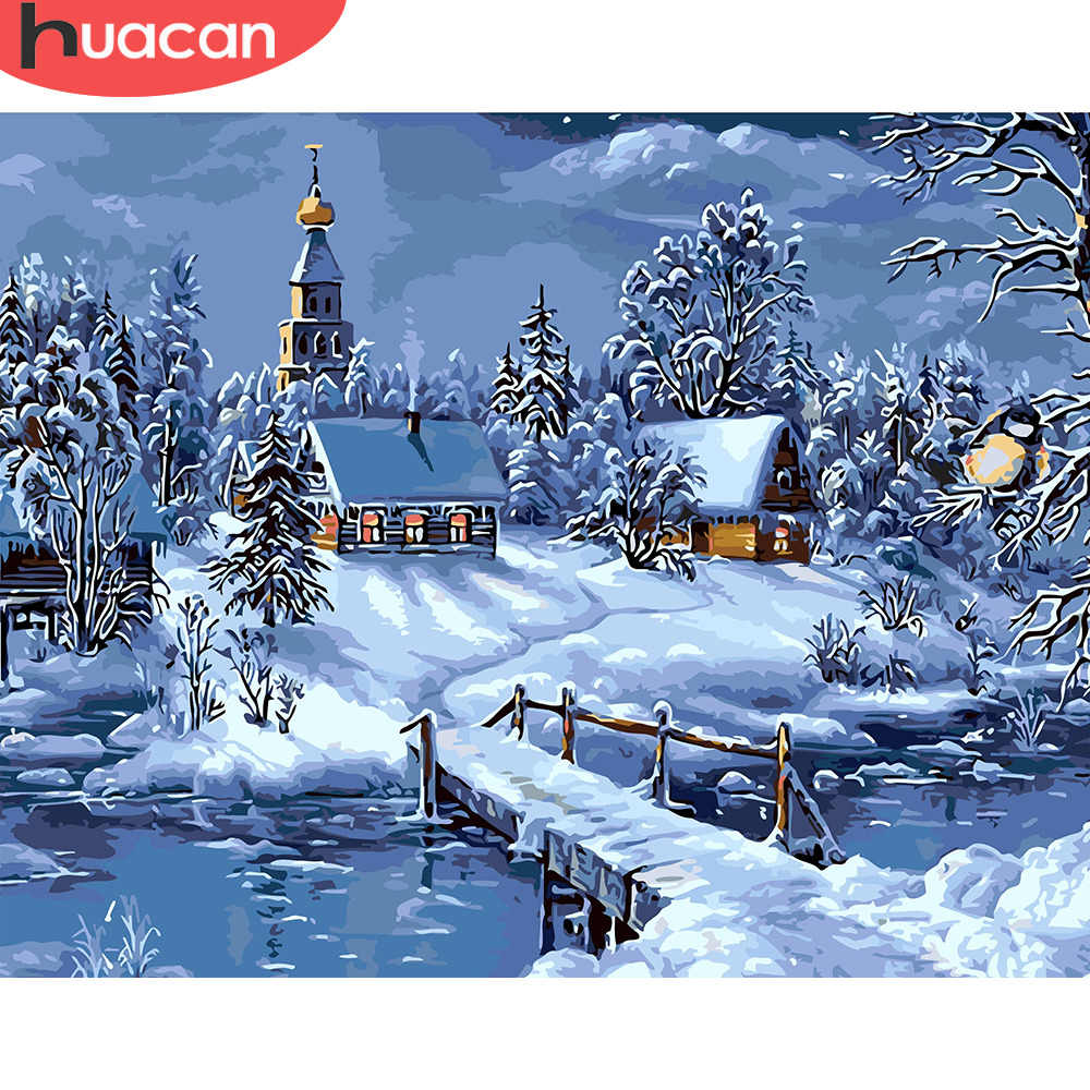 HUACAN Pictures By Numbers Winter Scenery Oil Painting By Numbers Kits DIY Drawing Canvas HandPainted Home Decor Unique Gift