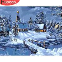 Huacan fotos por números paisagem de inverno pintura a óleo por números kits diy desenho lona pintados à mão decoração casa presente exclusivo