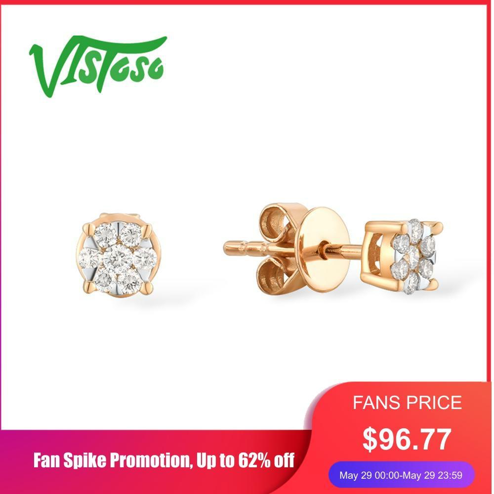 VISTOSO Gold Earrings For Women 14K 585 Rose Gold Sparkling Diamond Dainty Round Cirle Stud Earrings Fashion Trendy Fine Jewelry