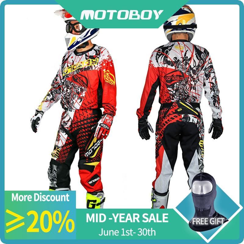 Новый мужской профессиональный спортивный костюм для мотокросса из полиэстера для мотокросса, футболка и штаны, комплект с цветным принтом