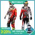 Новый мужской профессиональный спортивный костюм для мотокросса из полиэстера для мотокросса  футболка и штаны  комплект с цветным принтом