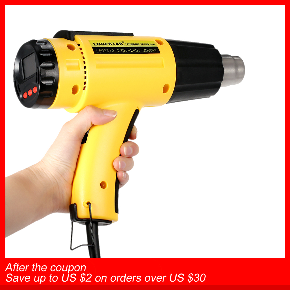 2000W AC220 Digital Electric Hot Air Gun Temperature controlled Building Hair dryer Heat gun Soldering Tools Adjustable+ Nozzle-in Heat Guns from Tools on