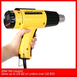 Image 1 - Sèche cheveux électrique numérique, pistolet à Air chaud numérique à température contrôlée, sèche cheveux de construction, outils de soudure, + buse
