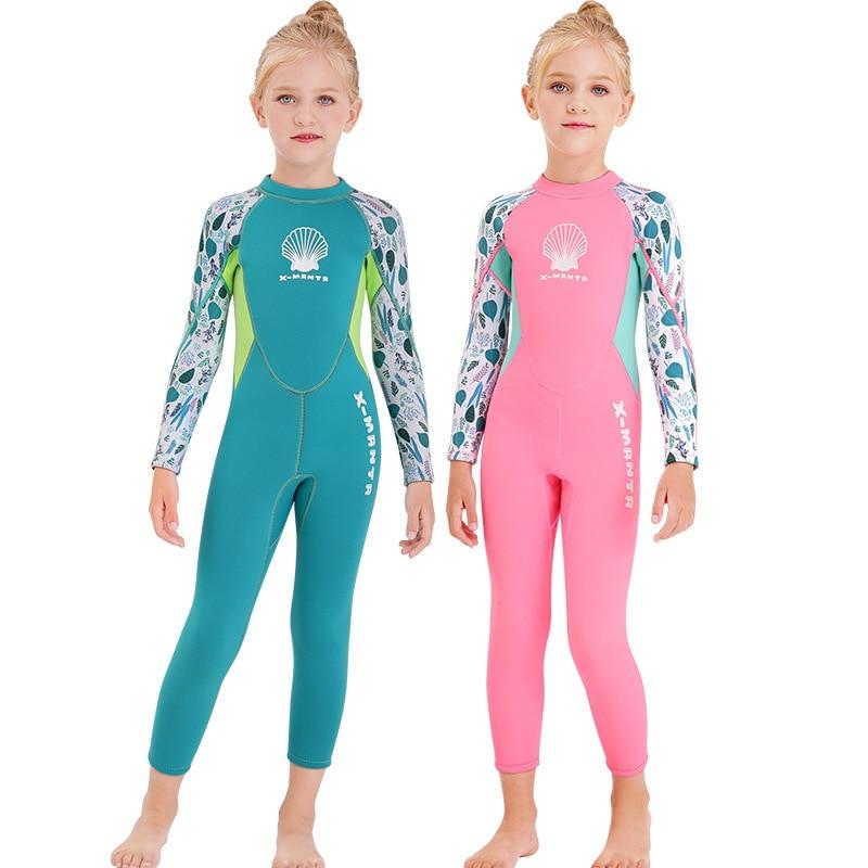 New Style KID'S Swimwear Girls Big Boy 2.5 Size One-piece Long Sleeve Warm Snorkeling Sun-resistant Quick-Dry Diving Suit Swimwe