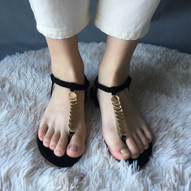 Phụ Nữ Dép Xăng Đan Người Phụ Nữ Gợi Cảm T-Dây Đeo Băng Hẹp Phẳng Nữ Mùa Hè 2020 Thời Trang Khóa Giày Nữ Giày plus Kích Thước