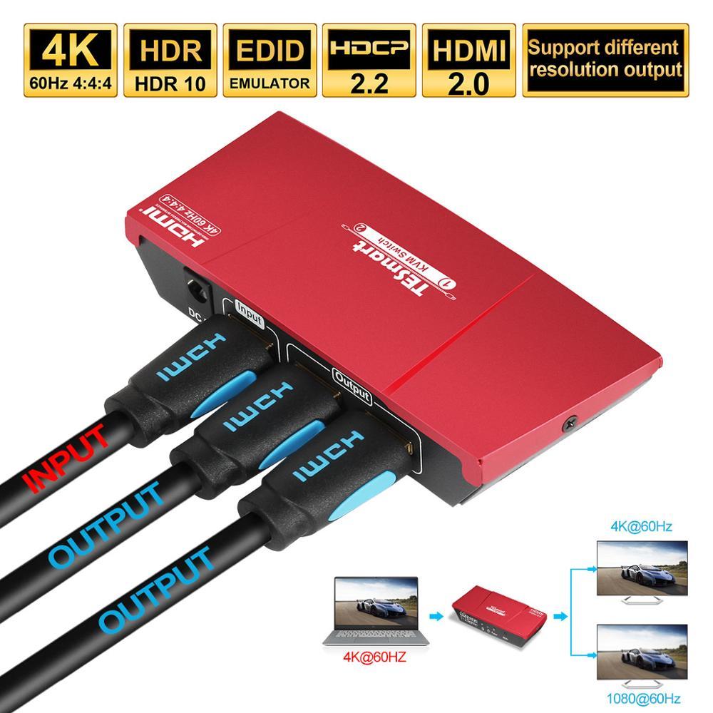 1x2 HDMI Splitter 4K@60Hz Dual Monitor Duplicating Splitter HDMI 1 In 2 Out HDMI Switch Video&Audio Ultra HD 4K@60Hz 3D HDCP2.2