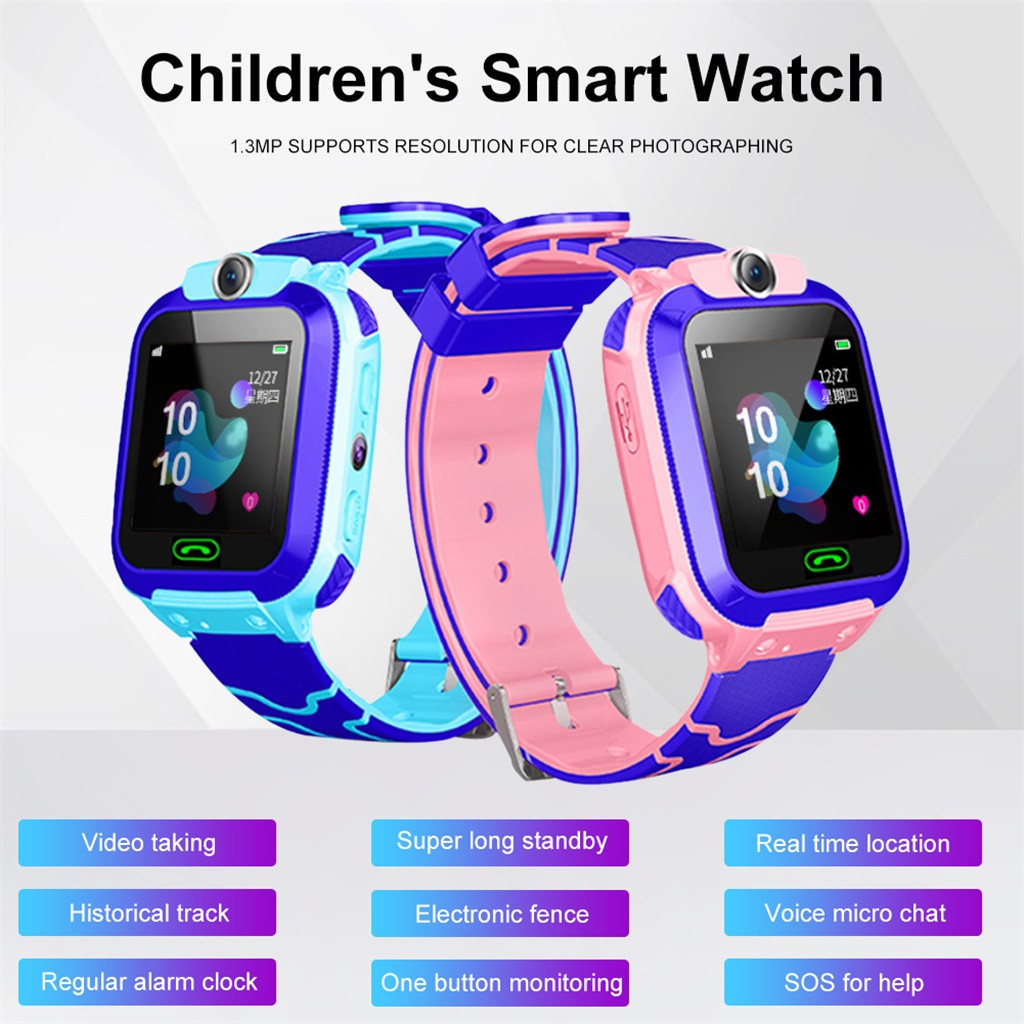 Children HD Color Touch Screen Locator Tracker Smart Watch Phone SOS 4mergency Call Anti-lost Waterproof Watch Sports Tracker#10