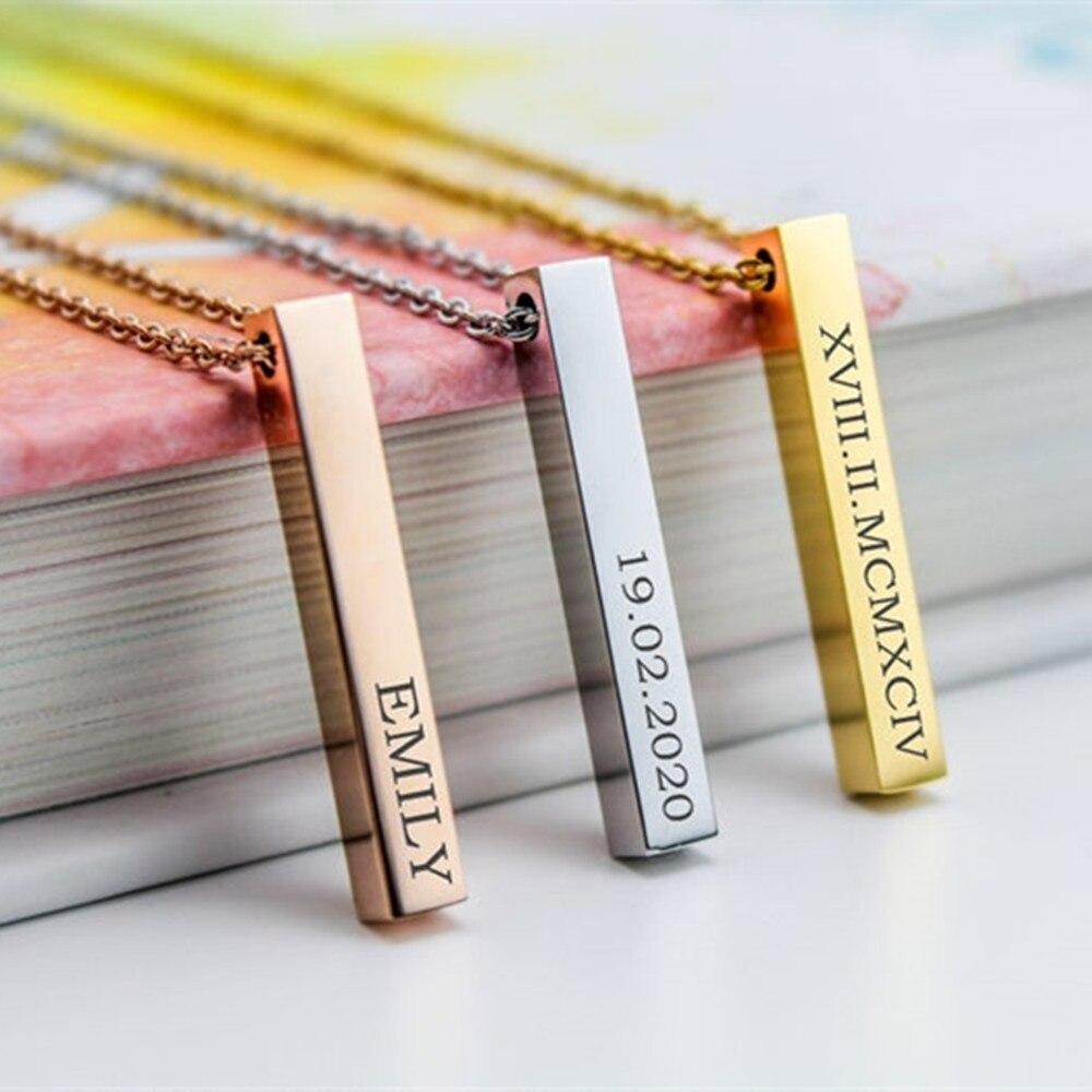 Блестящие ожерелья из нержавеющей стали с индивидуальным именем, 3 цвета, персонализированные, 4 стороны, гравировка, вертикальные бирки для...