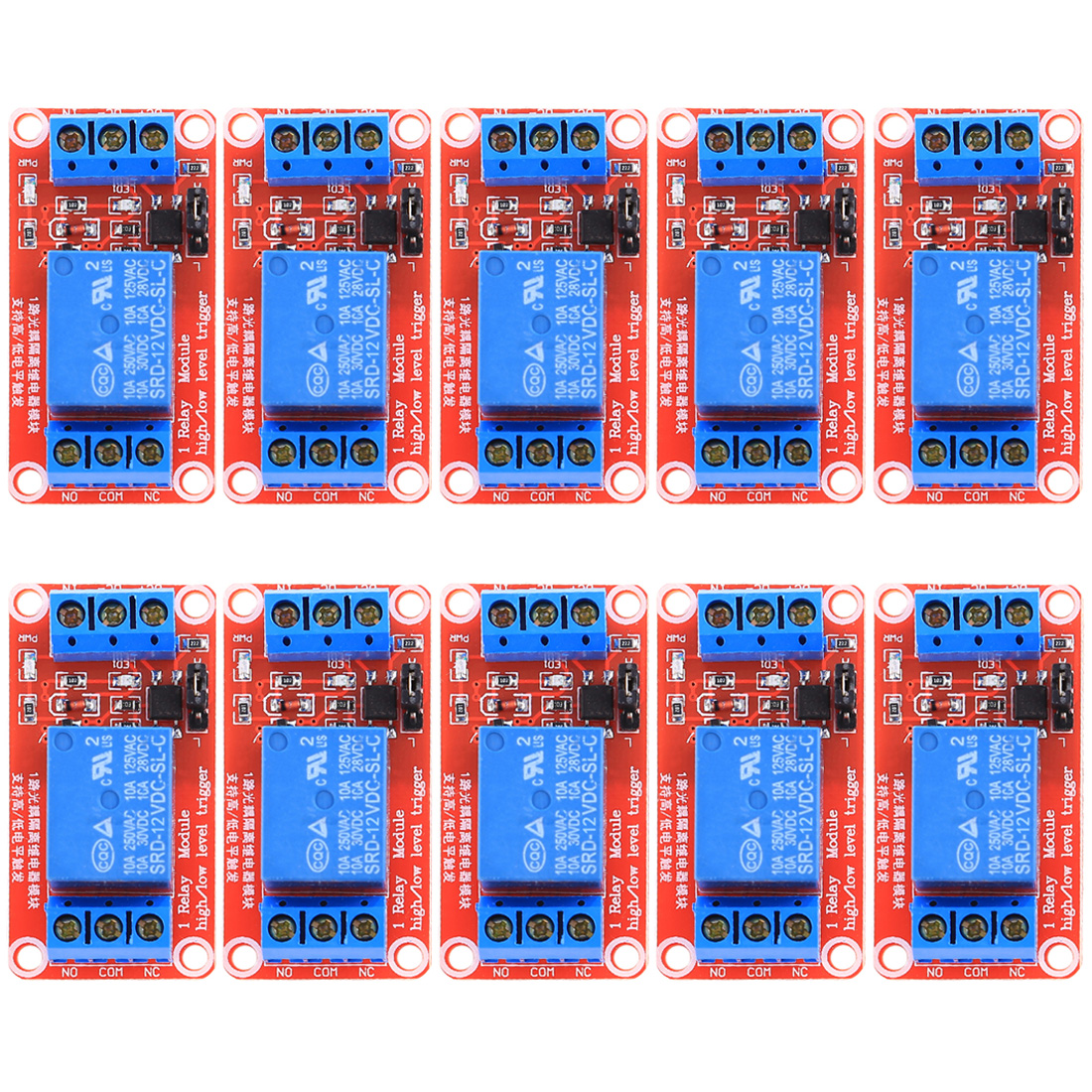 10Pcs 1 Channel 12V Relay Module For Arduino