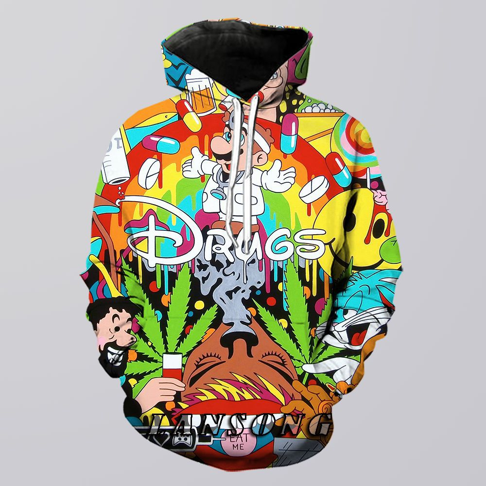Psychedelic Weed Hoodie Men 3d Print Cartoon Sweatshirt Harajuku Funny Casual Shorts Fashion Streetwear Hip Hop Pants Jacket Top