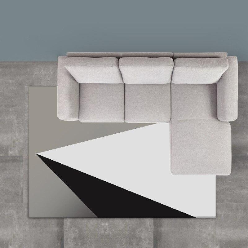 Transfrontalier-Style Simple géométrie noir et blanc gris dégradé chambre salon chevet cuisine salle de bains tapis tapis Customiza