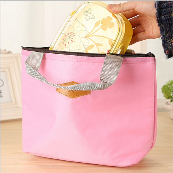 Hot Insulated Tinfoil Aluminum Cooler Thermal Picnic Lunch Bag Fashion 4 Candy Solid Color Waterproof Travel Tote Box