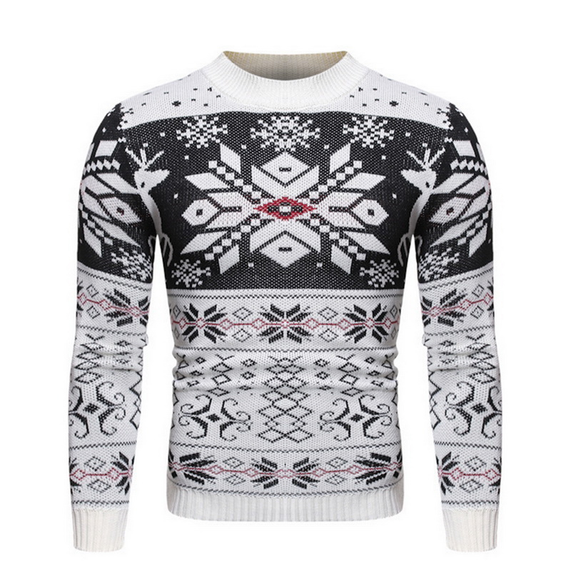 2019 New Mens Christmas Sweater Autumn Winter Men's Printed O Neck Pullover Knitted Jumper Sweaters Causal Slim Male Clothes