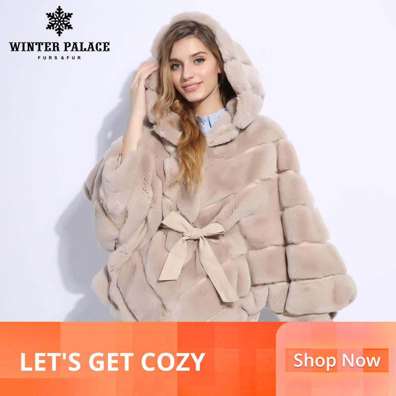2018 hiver fourrure manteau mode nouveau rabblt fourrure manteau décontracté rex rabblt fourrure manteau solide réel rex rabblt fourrure manteau o-cou hiver PALACE